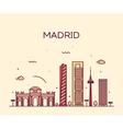 Madrid skyline trendy linear vector image vector image