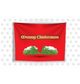 merry christmas snow and xmass leaves on curtain vector image