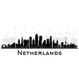 netherlands skyline silhouette with black vector image vector image