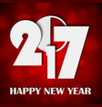 new year 2017 concept on shiny bright red lights vector image vector image