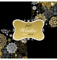 Pattern background with golden white snowflakes vector image