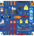 pattern with winter equipment vector image