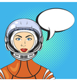 pop art beautiful young woman in astronaut helmet vector image