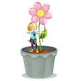 Pot Flower Archer Girl vector image