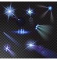 Realistic beam lights set on transparent vector image vector image