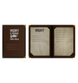 restaurant menu notebook in brown leather binding vector image