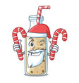 santa with candy sweet banana smoothie isolated on vector image vector image
