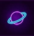 saturn planet neon label vector image vector image