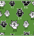 seamless background of the drawn owls vector image