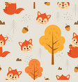 seamless pattern cute squirrel vector image vector image
