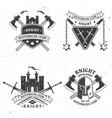 set knight historical club badge design vector image vector image