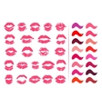 Set of 23 imprints of lipstick vector image