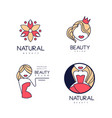 set of 4 linear beauty salon logo templates with vector image vector image