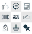 set of 9 commerce icons includes recommended vector image