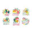 set summer logos in pink with yellow and blue vector image vector image