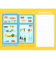 Shopping List Flat Style Refrigerator vector image vector image