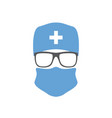surgeon in hat mask and glasses doctor icon vector image vector image