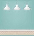 white hanging lamp isolated mint background vector image vector image