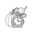 witch hat and clock near pumpkin halloween vector image vector image