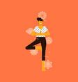 woman doing tree pose yoga with chakra icons vector image