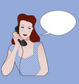woman talking on the phone speech balloon on the vector image vector image