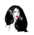 young asian woman with red lips fashion vector image vector image