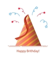Festive striped cap or hat with a ribbon The head vector image