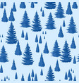 winter seamless pattern landscape with fir forest vector image