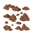 brown stones on a white background isolated rock vector image