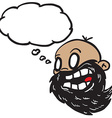 bearded bald man with thought bubble vector image vector image