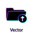 black download arrow with folder icon isolated on vector image vector image
