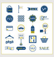 blue and golden sale and shopping icons set vector image vector image