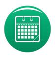 calendar office icon green vector image vector image