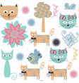 cat seamless patternit is located in swatch menu vector image vector image