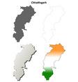 Chhattisgarh blank detailed outline map set vector image vector image