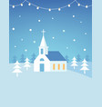 christian church building and snowy hills vector image vector image