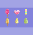 collection fruit ice cream and popsicles vector image