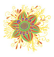 colorful yellow red green fantasy flower framed vector image vector image
