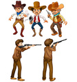 Cowboys and hunters vector image