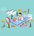 customer profile analysis isometric flat vector image
