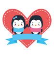 cute couple penguin animals heart love ribbon vector image vector image