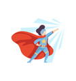 cute heroic boy wearing superhero costume super vector image vector image