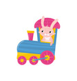 cute pink bunny with long ears traveling on train vector image vector image