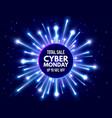 cyber monday total sale banner with bright vector image
