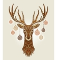 Decorative christmas deer with ornament and vector image vector image