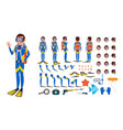 diver man animated character creation set vector image