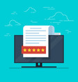 document with a rating or recall on the desktop vector image vector image