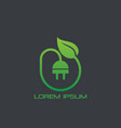 eco electric plug icon logo vector image vector image