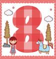 eight number cartoon vector image