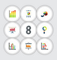 flat icon chart set of segment graph statistic vector image